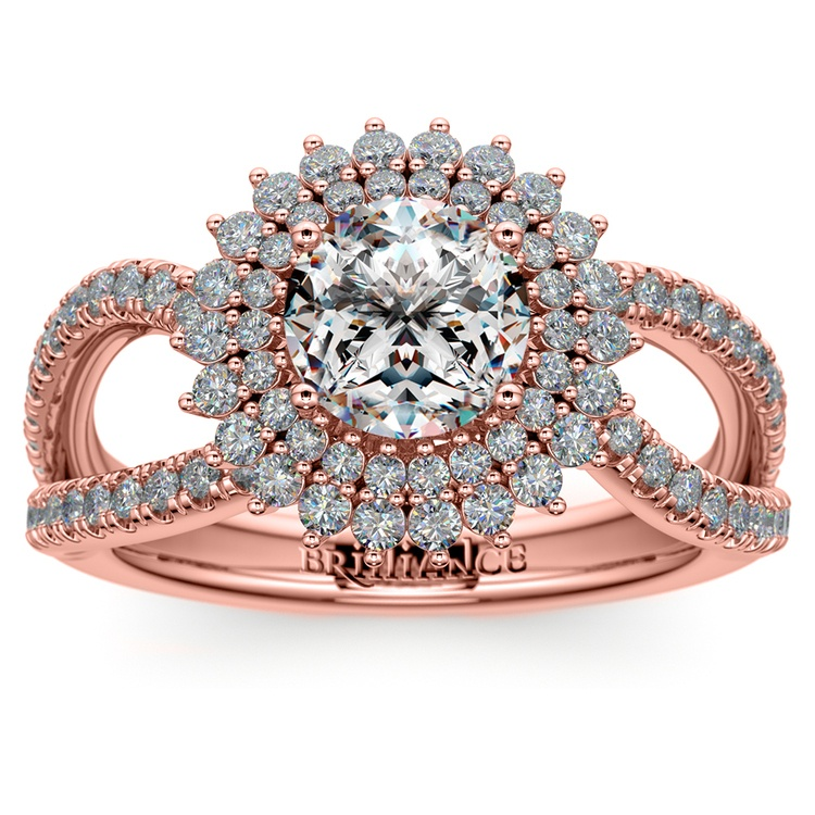 Asymmetric Sunburst Diamond Halo Engagement Ring In Rose Gold | 01