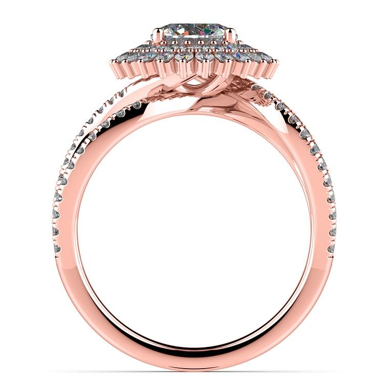 Asymmetric Sunburst Diamond Halo Engagement Ring In Rose Gold | 02