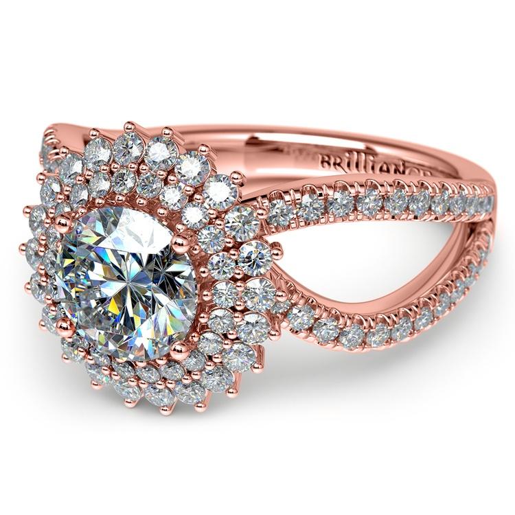 Asymmetric Sunburst Diamond Halo Engagement Ring In Rose Gold | 04