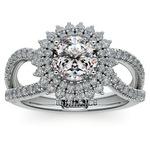 Asymmetric Sunburst Diamond Halo Engagement Ring in White Gold | Thumbnail 01