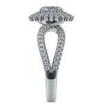 Asymmetric Sunburst Diamond Halo Engagement Ring in White Gold | Thumbnail 03