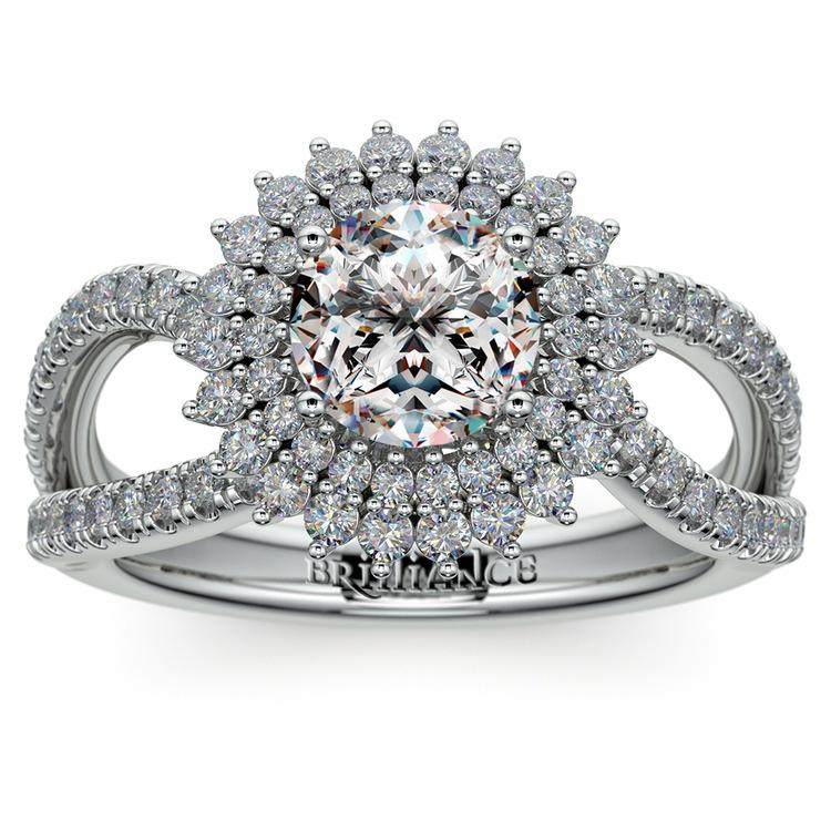 Asymmetric Sunburst Diamond Halo Engagement Ring in White Gold | 01