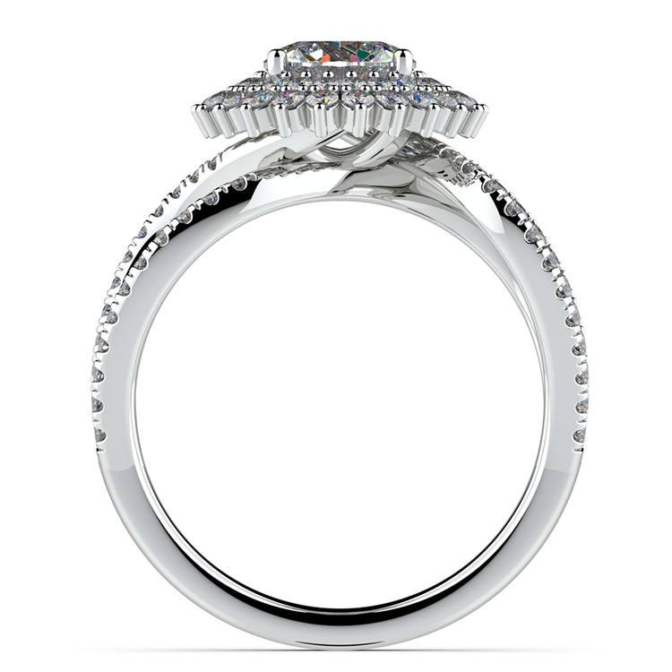 Asymmetric Sunburst Diamond Halo Engagement Ring in White Gold | 02