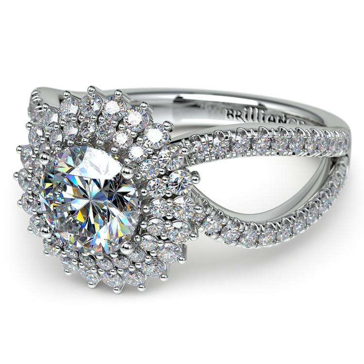 Asymmetric Sunburst Diamond Halo Engagement Ring in White Gold | 04