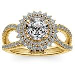 Asymmetric Sunburst Diamond Halo Engagement Ring in Yellow Gold | Thumbnail 01