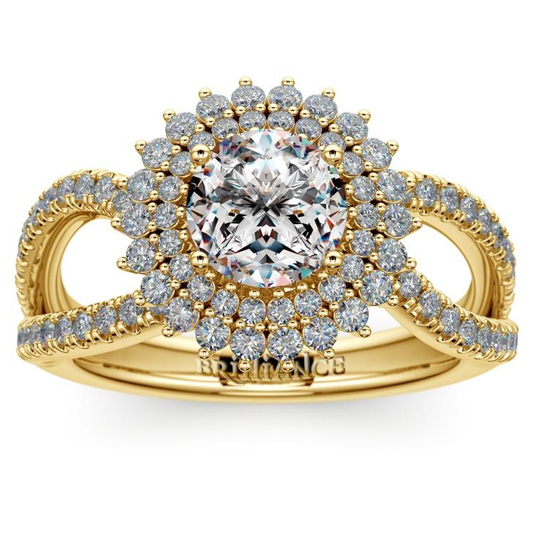 Asymmetric Sunburst Diamond Halo Engagement Ring in Yellow Gold | 01