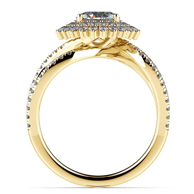 Asymmetric Sunburst Diamond Halo Engagement Ring in Yellow Gold | 02