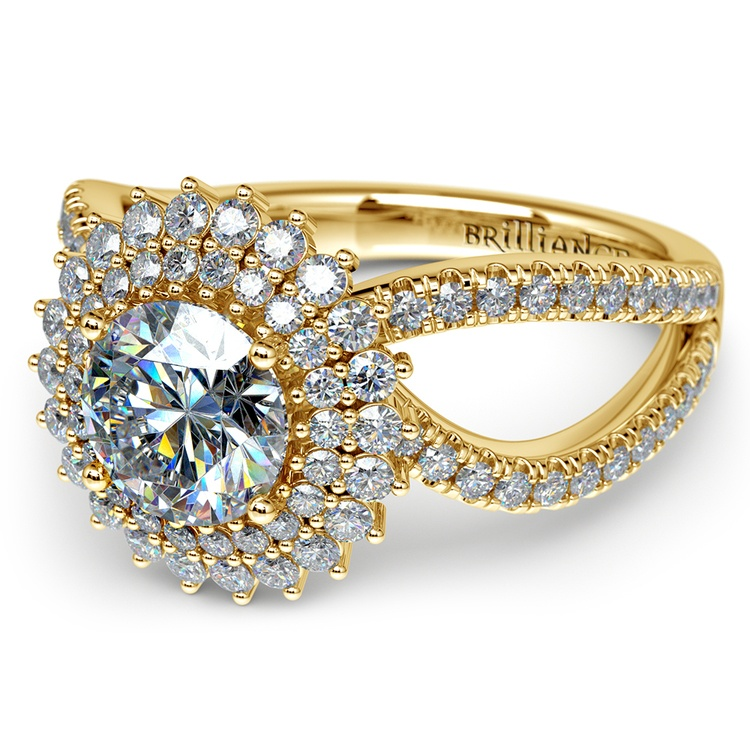 Asymmetric Sunburst Diamond Halo Engagement Ring in Yellow Gold | 04