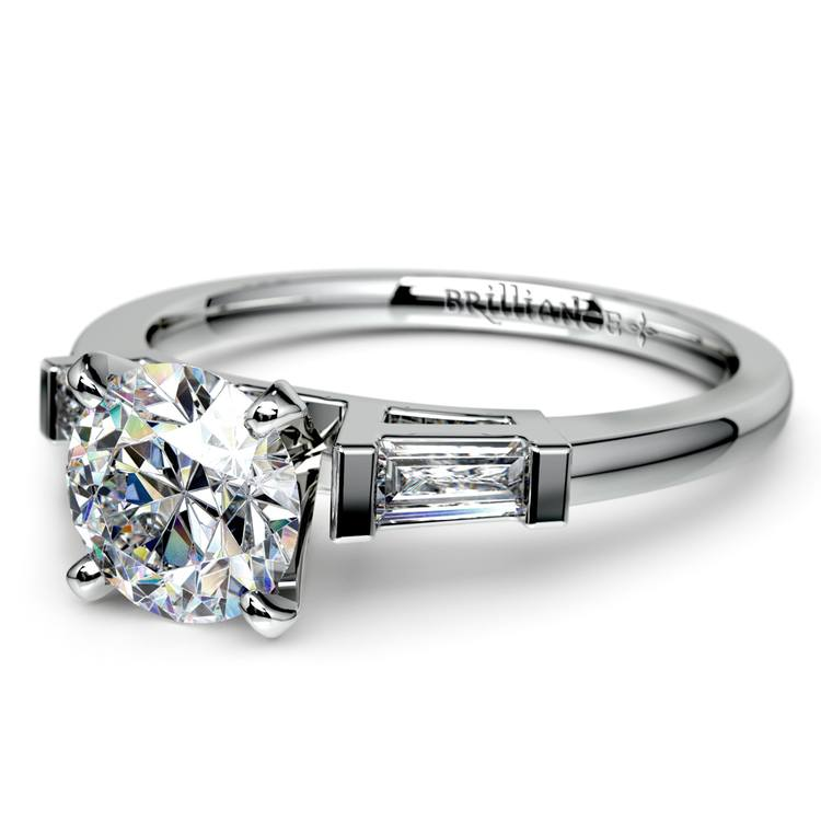 Baguette Diamond Engagement Ring in White Gold (1/4 ctw) | 04