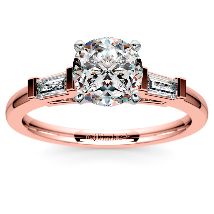 Baguette Diamond Engagement Ring in Rose Gold (1/3 ctw) | 01