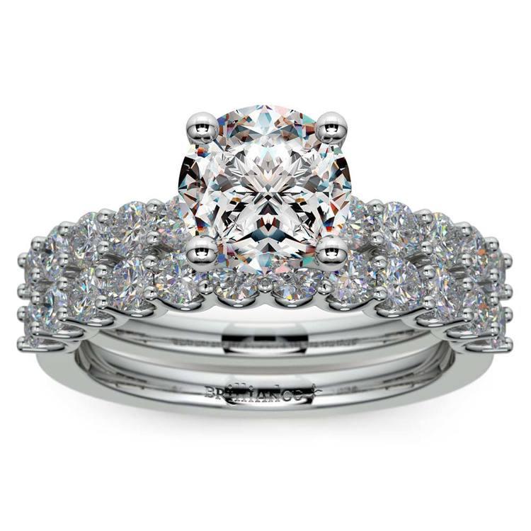 Beautiful U Prong Diamond Bridal Set in White Gold   01
