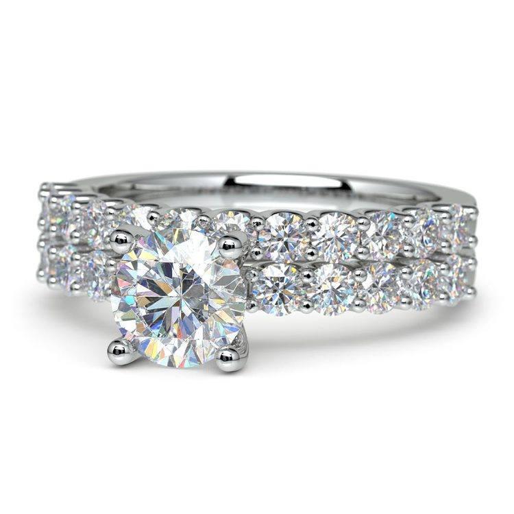 Beautiful U Prong Diamond Bridal Set in White Gold   04