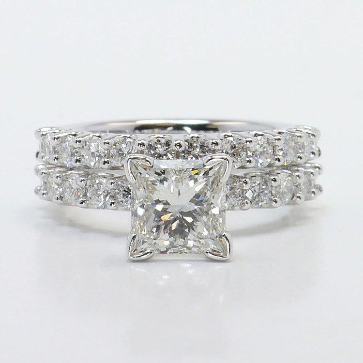 Beautiful U Prong Diamond Bridal Set in White Gold   05