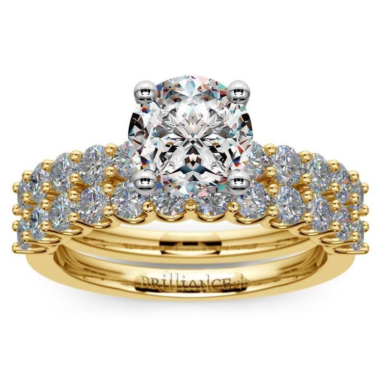 Beautiful U Prong Diamond Bridal Set in Yellow Gold | 01