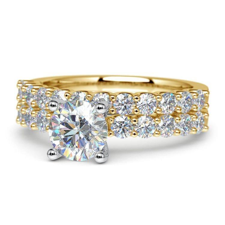 Beautiful U Prong Diamond Bridal Set in Yellow Gold | 04