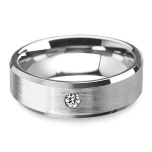 Inset Men's Engagement Ring In Tungsten