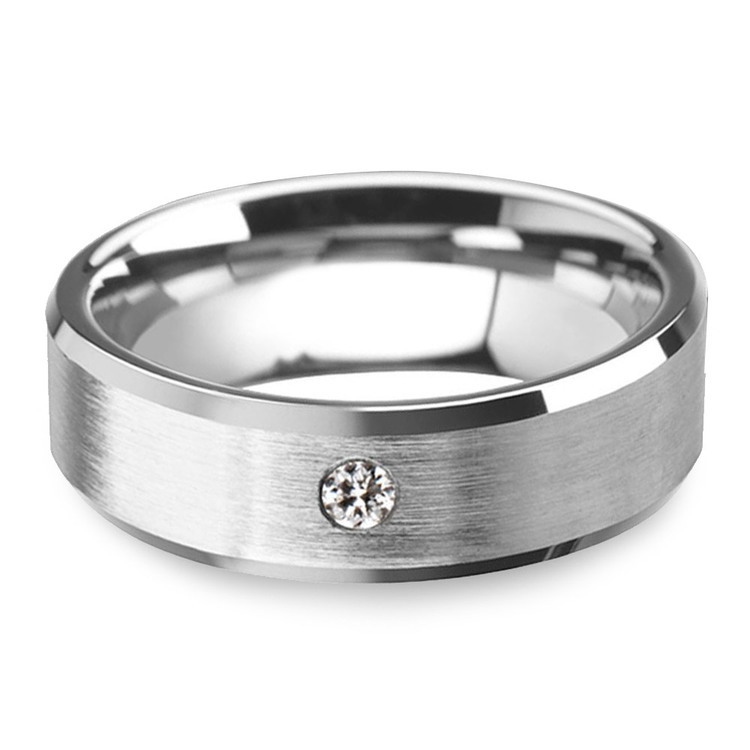 Inset Men's Engagement Ring In Tungsten | 01