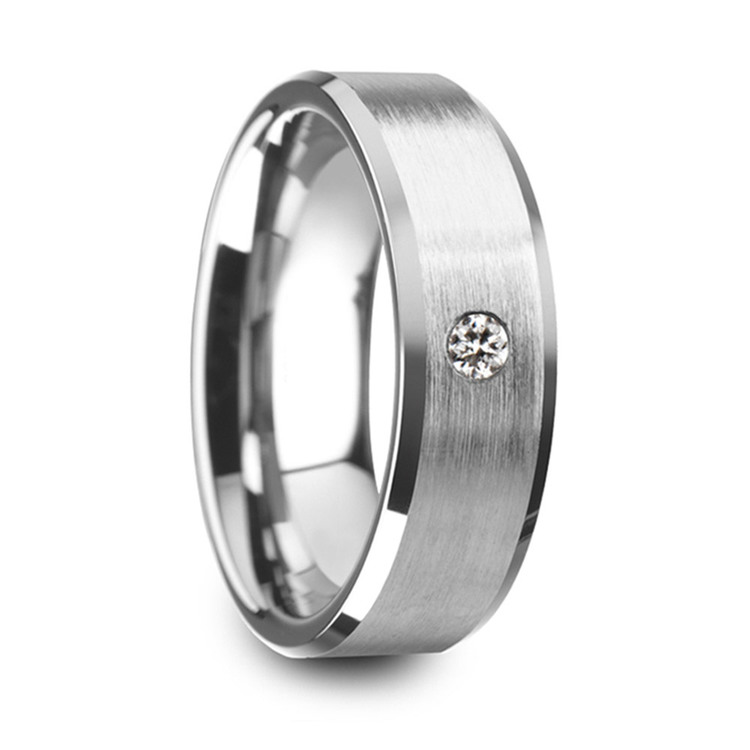 Inset Men's Engagement Ring In Tungsten | 02