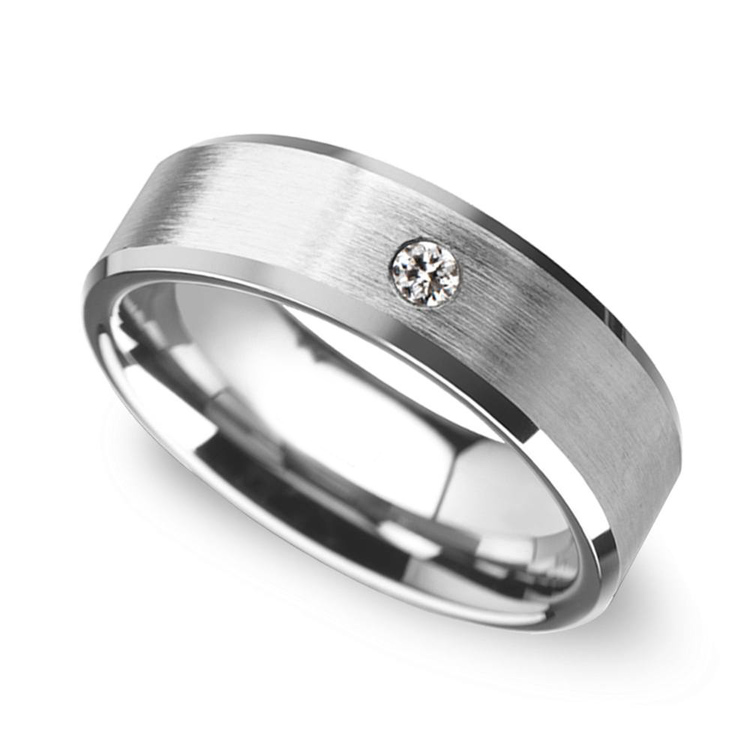 Inset Men's Engagement Ring In Tungsten | 03