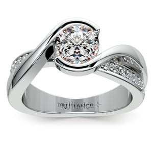 Bezel Diamond Bridge Engagement Ring in Platinum