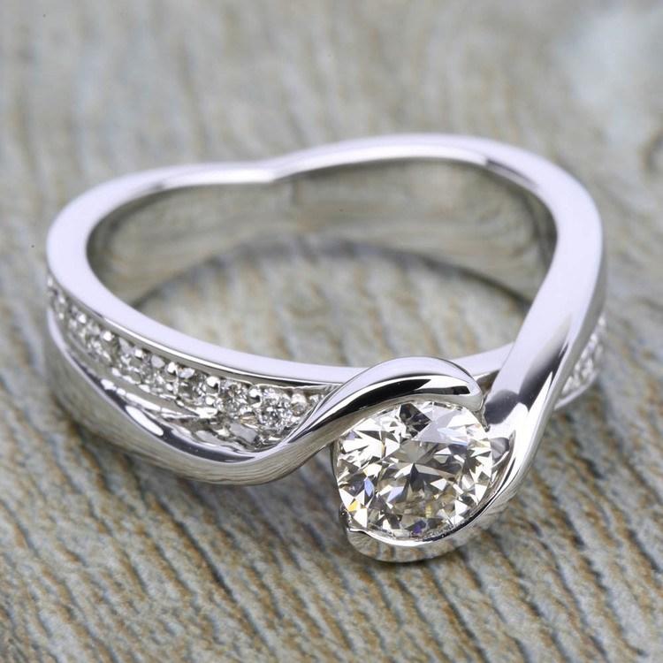 Bezel Diamond Bridge Engagement Ring in Platinum | 05