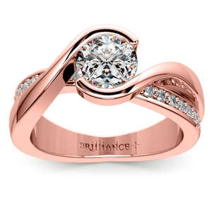 Bezel Diamond Bridge Engagement Ring in Rose Gold