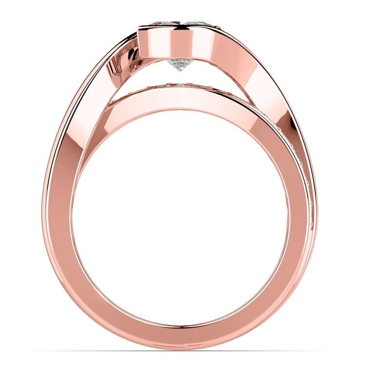 Bezel Diamond Bridge Engagement Ring in Rose Gold | 02