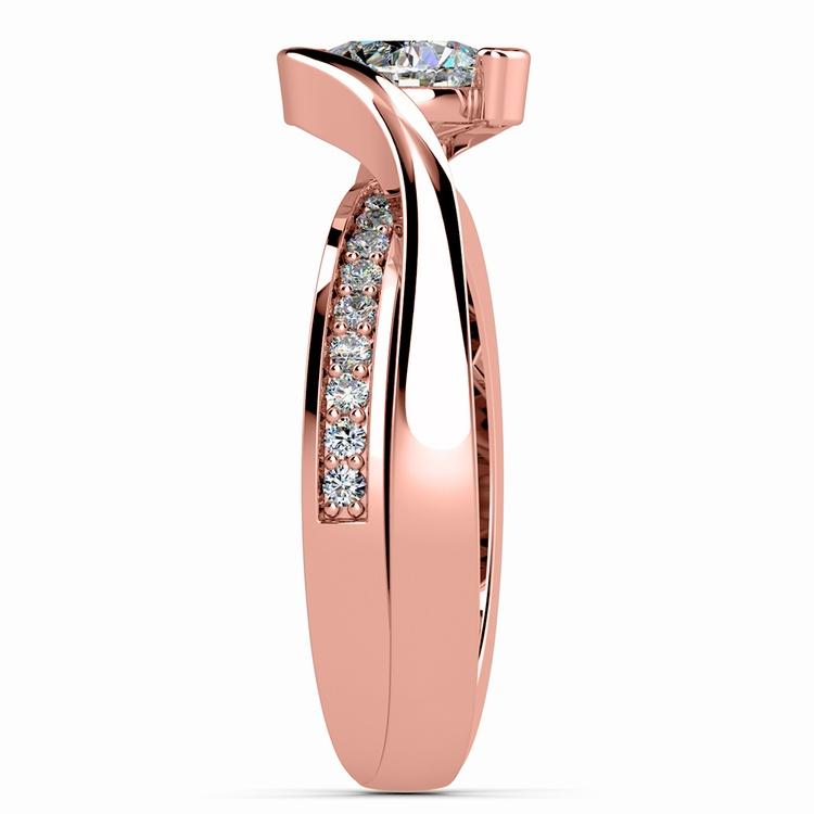 Bezel Diamond Bridge Engagement Ring in Rose Gold | 03