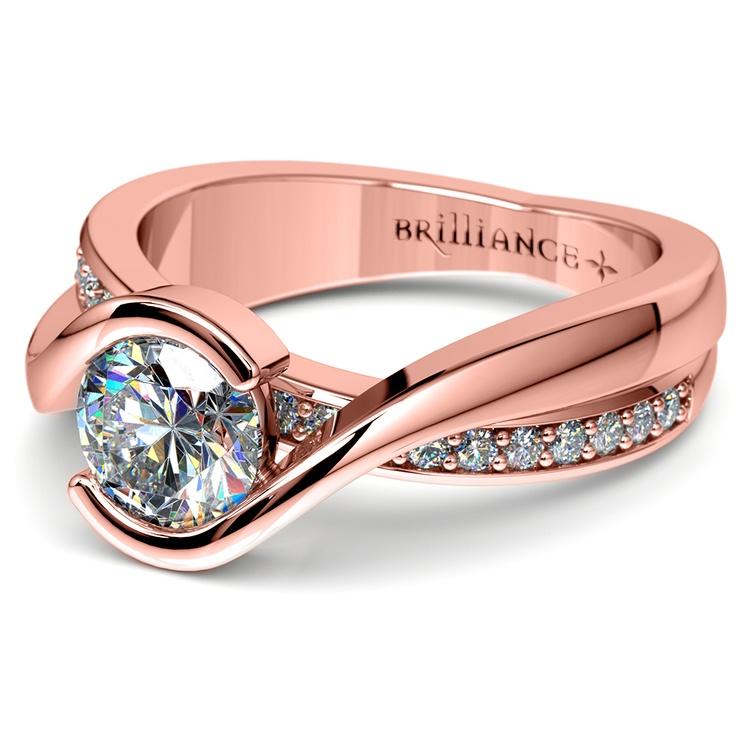 Bezel Diamond Bridge Engagement Ring in Rose Gold | 04