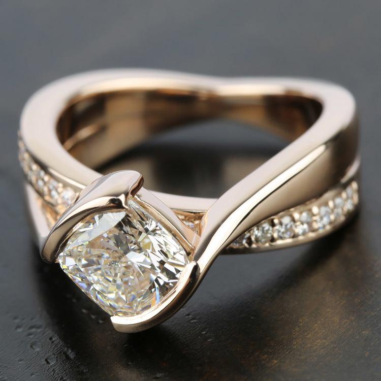 Bezel Diamond Bridge Engagement Ring in Rose Gold | 05