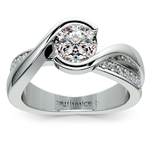 Bezel Diamond Bridge Engagement Ring in White Gold | Thumbnail 01