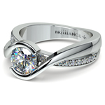 Bezel Diamond Bridge Engagement Ring in White Gold | Thumbnail 04