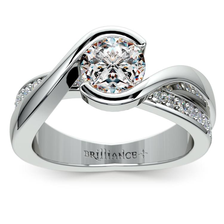 Bezel Diamond Bridge Engagement Ring in White Gold | 01