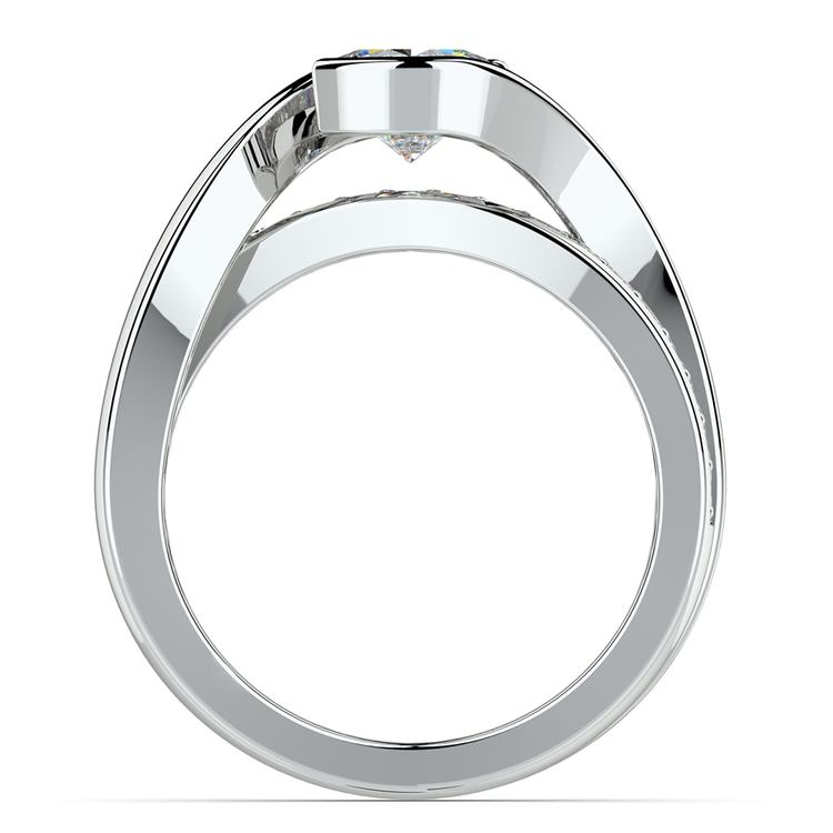 Bezel Diamond Bridge Engagement Ring in White Gold | 02