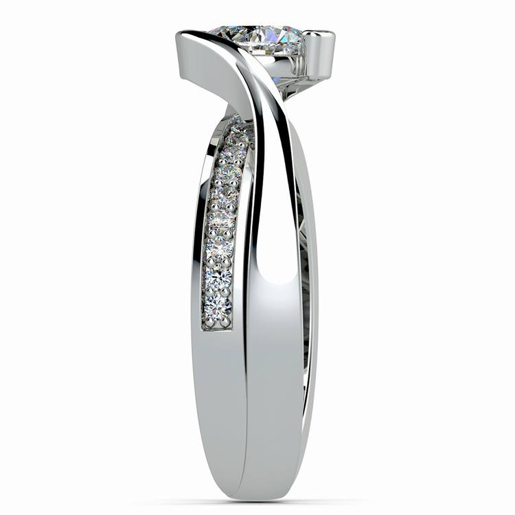 Bezel Diamond Bridge Engagement Ring in White Gold | 03