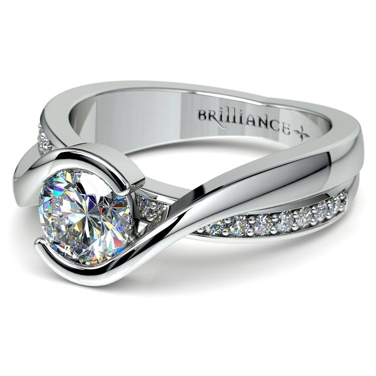 Bezel Diamond Bridge Engagement Ring in White Gold | 04