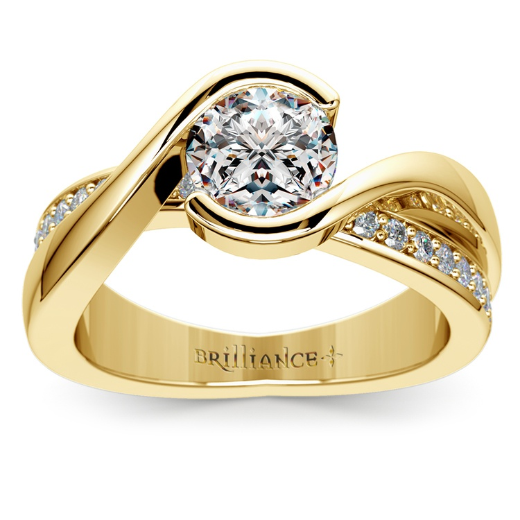 Bezel Diamond Bridge Engagement Ring in Yellow Gold | 01