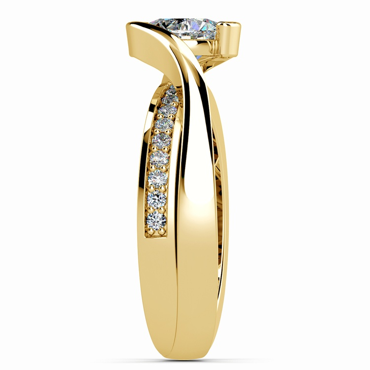 Bezel Diamond Bridge Engagement Ring in Yellow Gold | 03