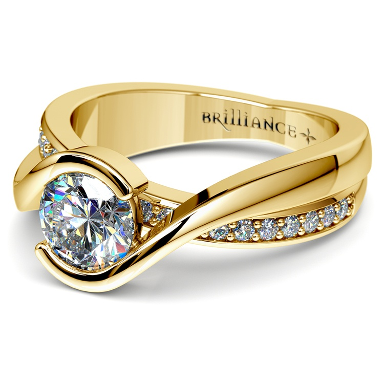 Bezel Diamond Bridge Engagement Ring in Yellow Gold | 04