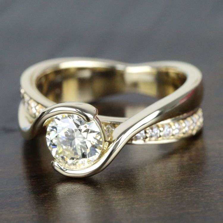 Bezel Diamond Bridge Engagement Ring in Yellow Gold | 05