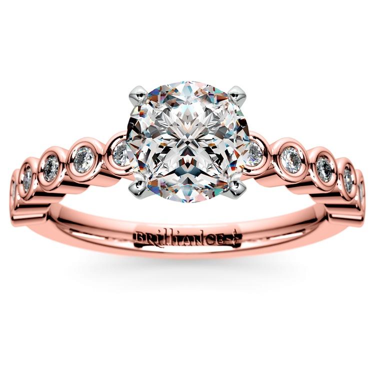 Bezel Diamond Engagement Ring in Rose Gold (1/4 ctw) | 01