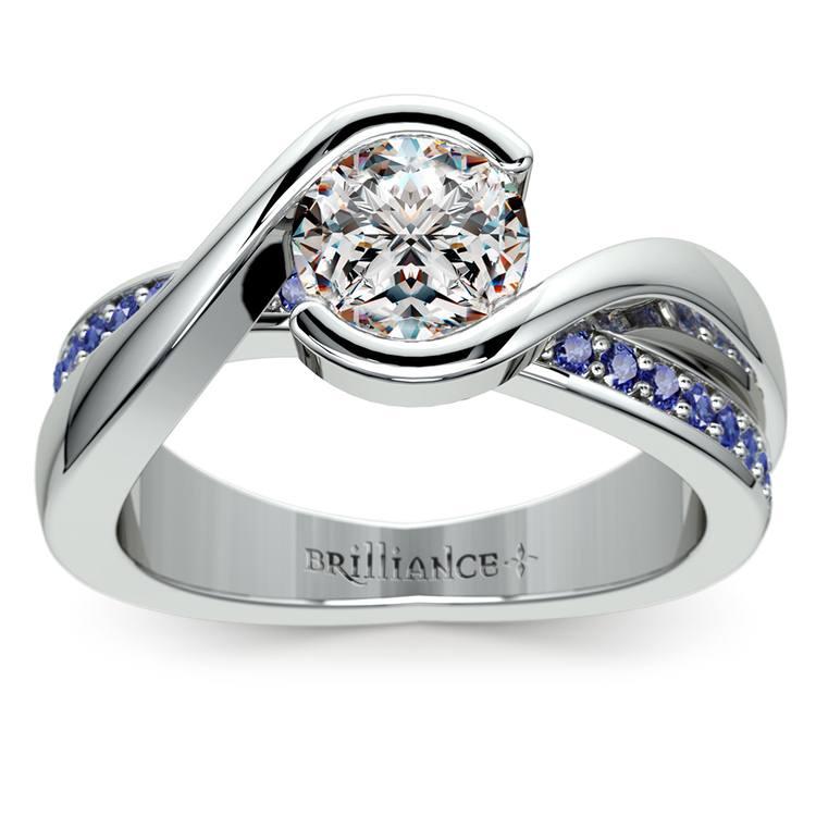 Bezel Sapphire Gemstone Bridge Engagement Ring in Platinum | 01