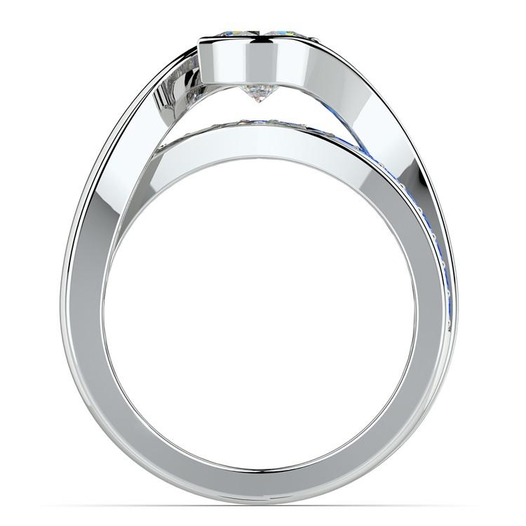 Bezel Sapphire Gemstone Bridge Engagement Ring in Platinum | 02