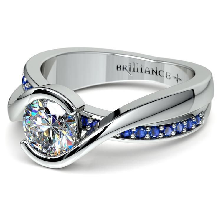 Bezel Sapphire Gemstone Bridge Engagement Ring in Platinum | 04