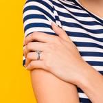 Bezel Sapphire Gemstone Bridge Engagement Ring in White Gold   Thumbnail 07