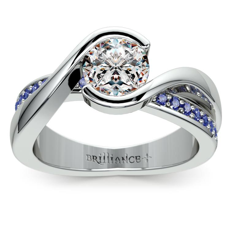 Bezel Sapphire Gemstone Bridge Engagement Ring In White Gold