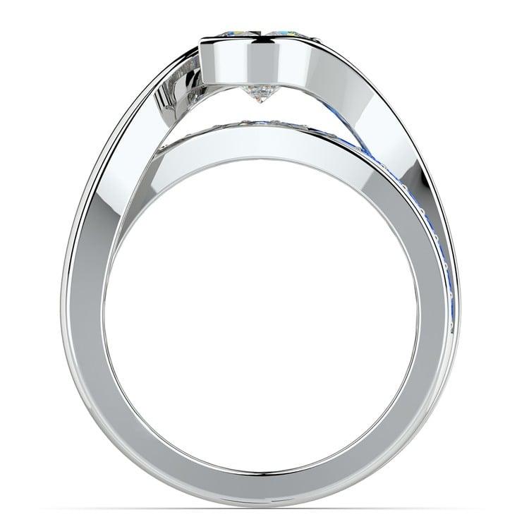 Bezel Sapphire Gemstone Bridge Engagement Ring in White Gold | 02