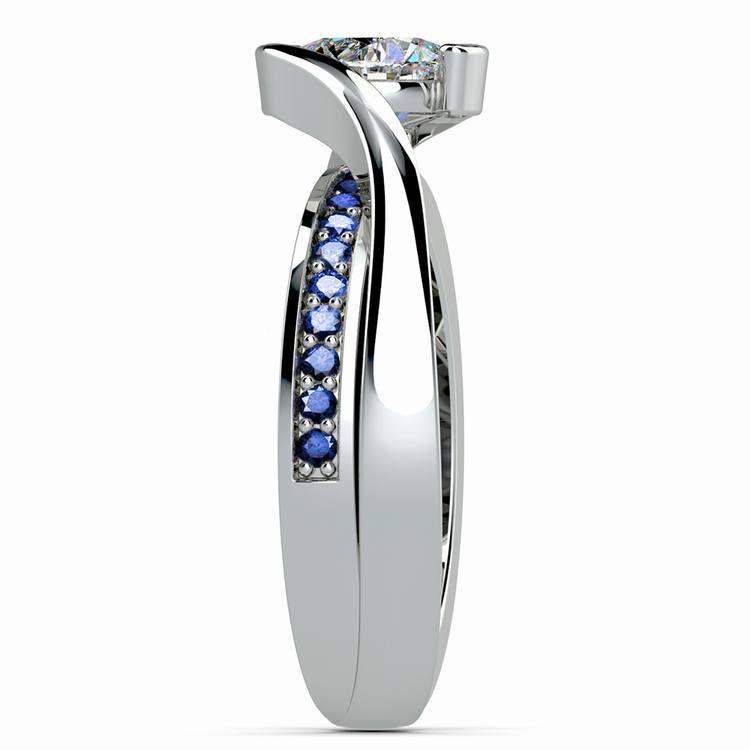 Bezel Sapphire Gemstone Bridge Engagement Ring in White Gold | 03