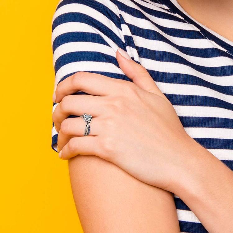 Bezel Sapphire Gemstone Bridge Engagement Ring in White Gold   07