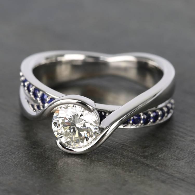Bezel Sapphire Gemstone Bridge Engagement Ring in White Gold   05